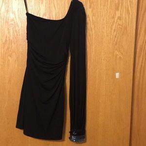 Asymmetrical one shoulder dress, sheer sleeve